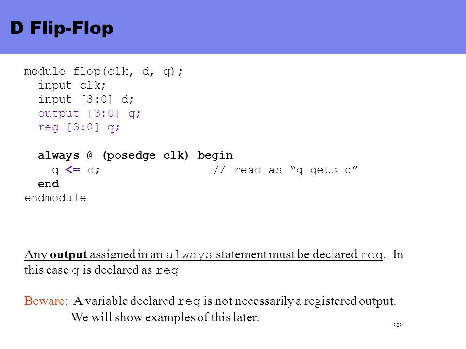 D Flip-Flop module flop(clk, d, q); input clk; input [3:0] d; output [3:0] q; reg [3:0] q; always @ (posedge clk) begin.